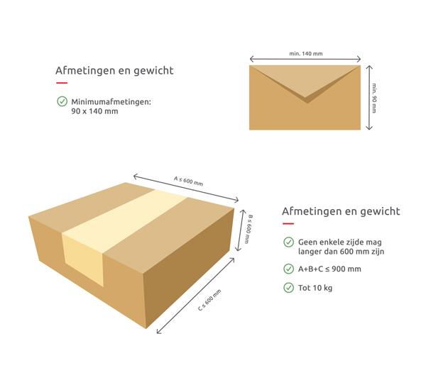 Maximum grootte en gewicht - Aangetekende Zending
